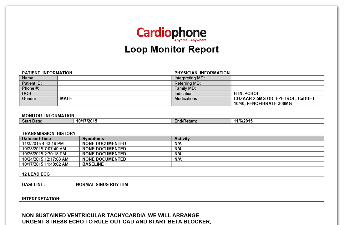 Cardiophone Loop Monitor Sample Report